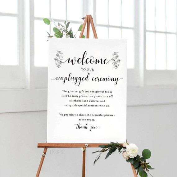 Greenery Unplugged Wedding Sign, Unplugged Ceremony Sign Printable, Unplugged Sign, Unplugged Wedding Download, PDF Instant Download #E017