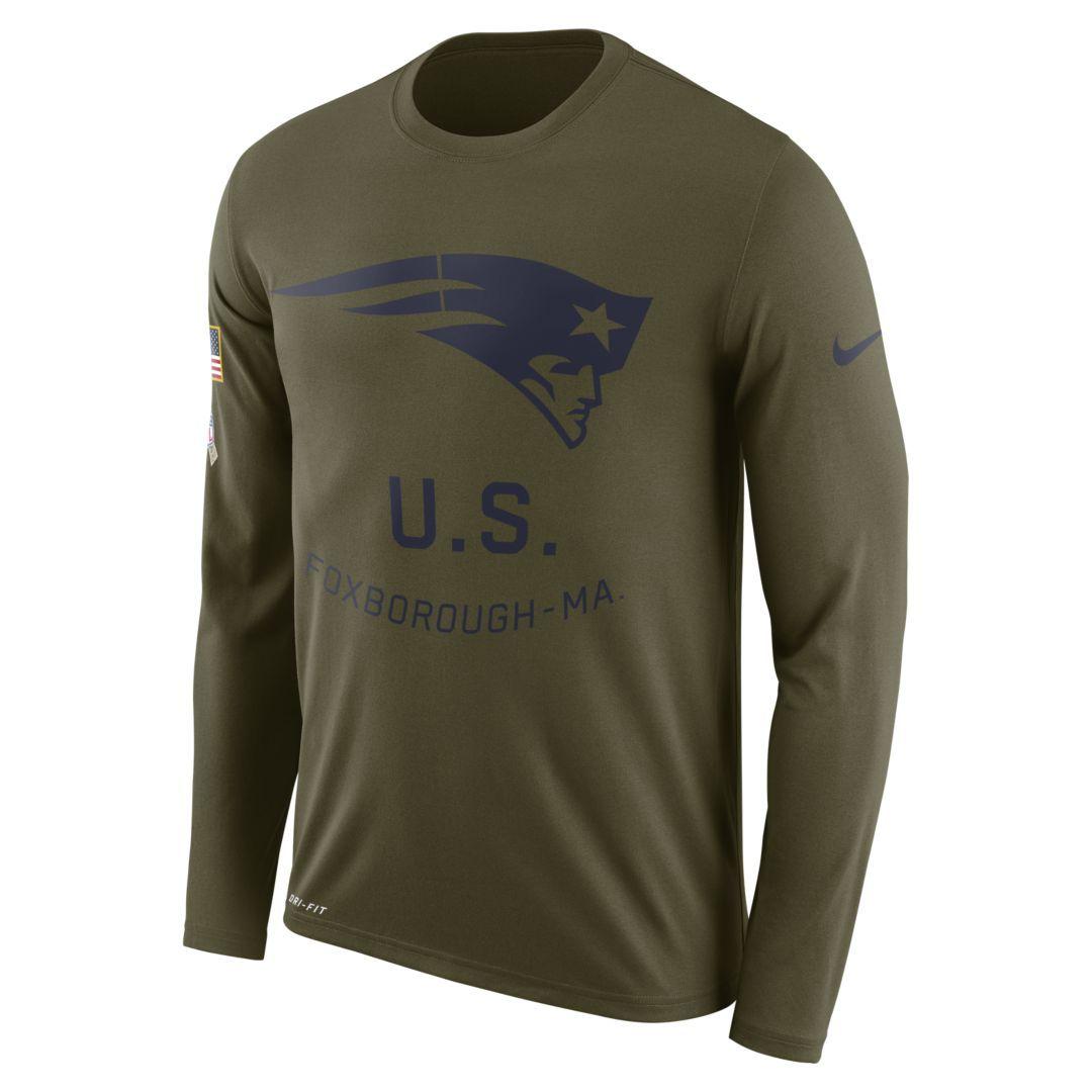 a663c9b92a0 Nike Legend Salute to Service (NFL Patriots) Men s Long-Sleeve T-Shirt Size  3XL (Olive Canvas)