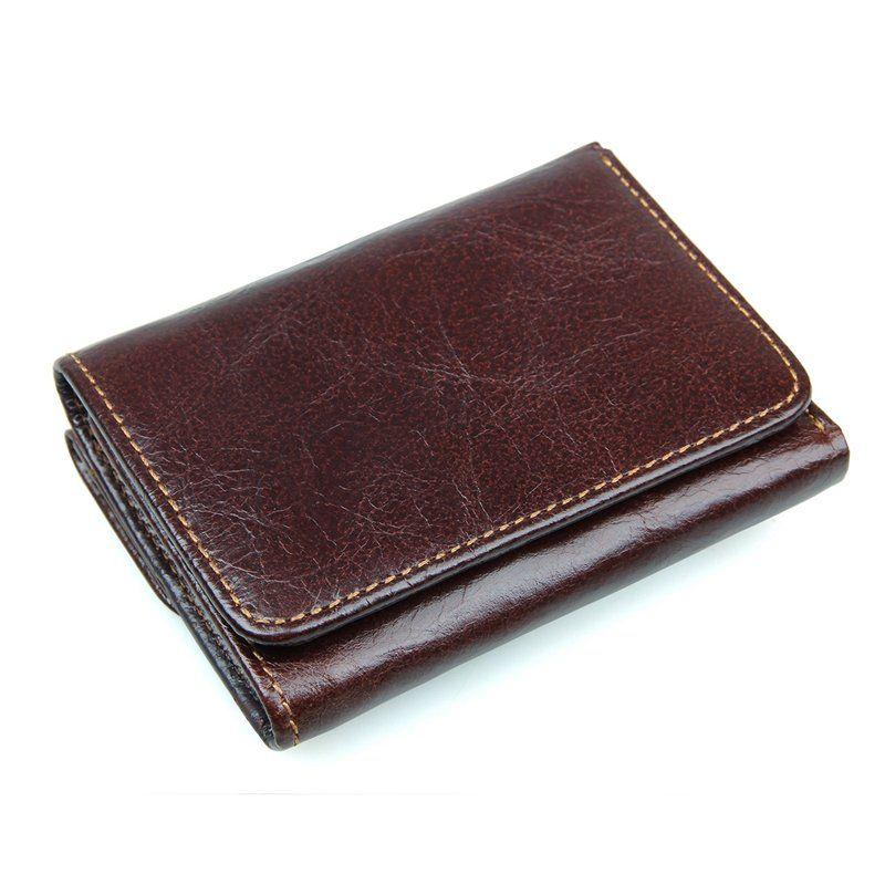 Rfid Antimagnetic Genuine Leather Vintage Multi Card Slots Tri Fold Wallet For Men Wallet Men Leather Trifold Wallet Genuine Leather Wallets