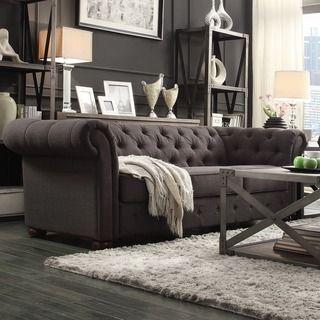 TRIBECCA HOME Knightsbridge Dark Grey Tufted Scroll Arm Chesterfield Sofa  $1009