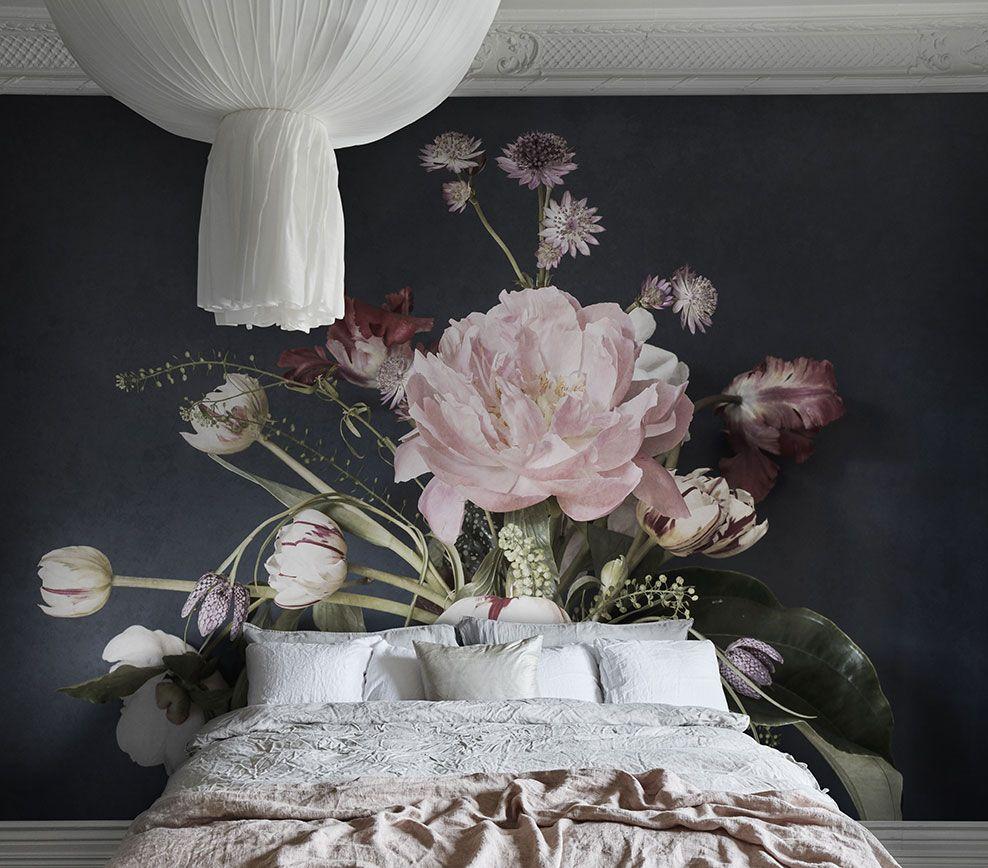 Decor Panoramique A Grosses Fleurs Julie Collection L Hotel De Sandberg Au Fil Des C Deco Chambre Parentale Romantique Papier Peint Peinture Murale Chambre