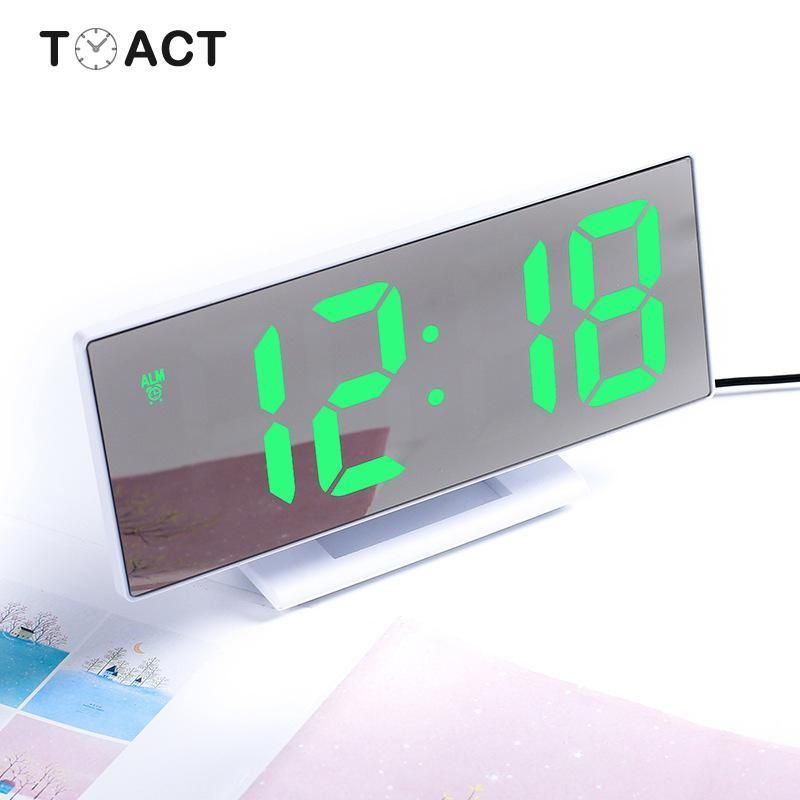 Led Mirror Digital Alarm Clock Electronic Watch Table Desktop Alarm Clocks Multifunction Snooze Night Large Led Display Gift Led Mirror Alarm Clock Clock
