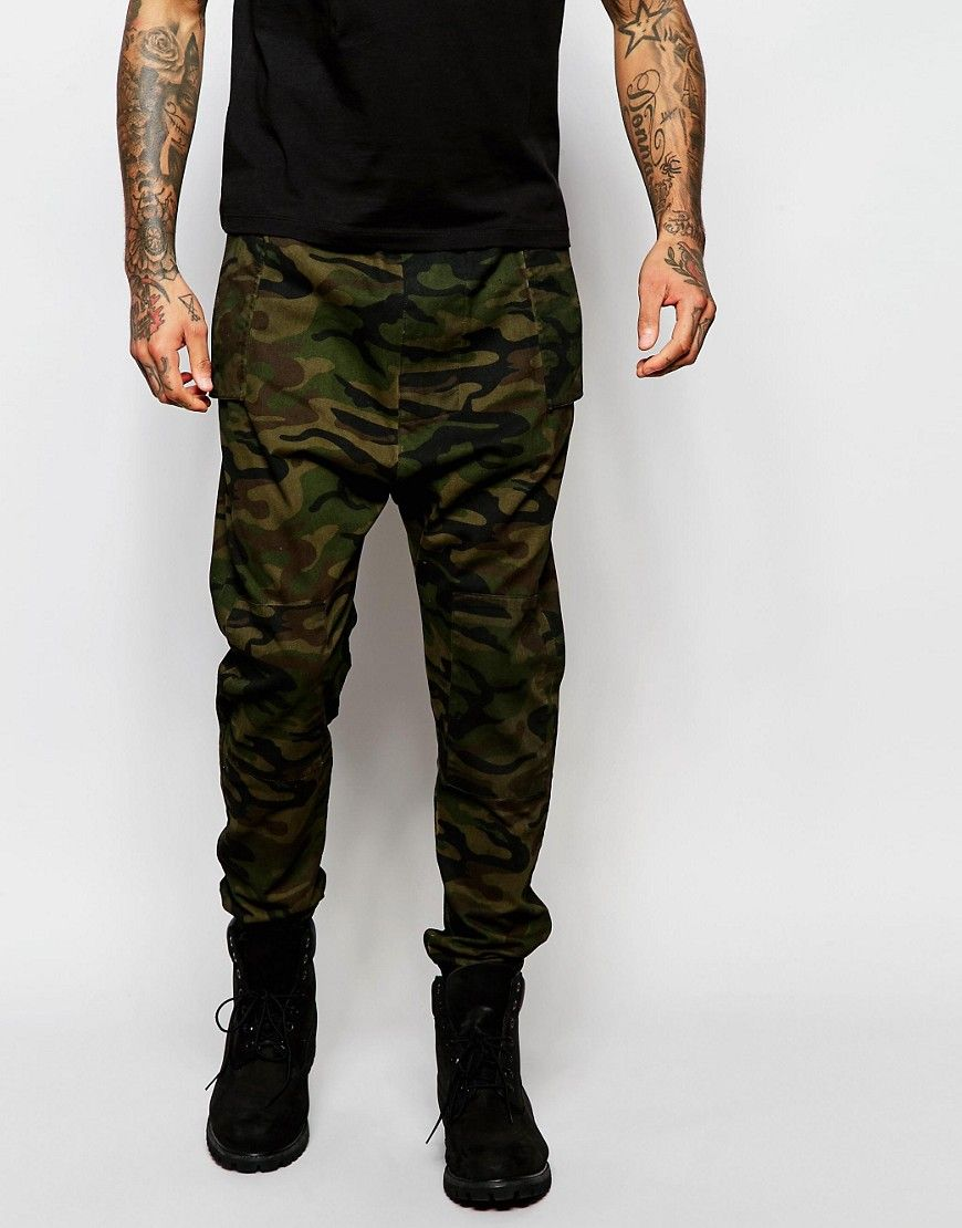 ASOS Drop Crotch Joggers In Camo Twill Overdye
