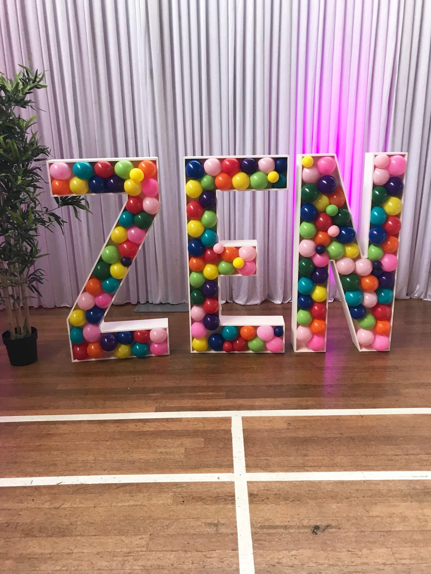 Balloon filled 4ft letters by www.mimiandlu.co.uk Baby