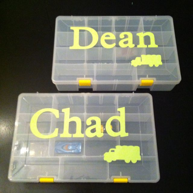 Hot Wheels Storage containers Tackle box their names cut out