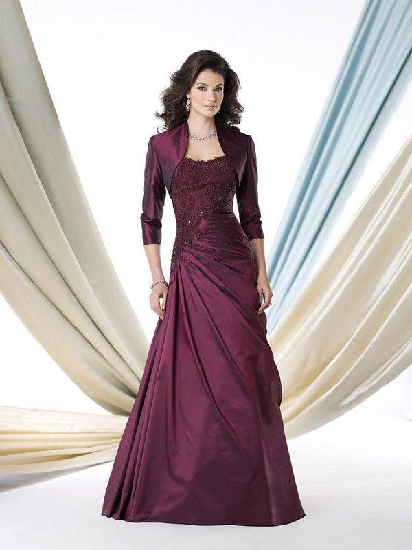 A-line/Princesse Stroppeløs Floor-length Taft Mother of the Bride Dress