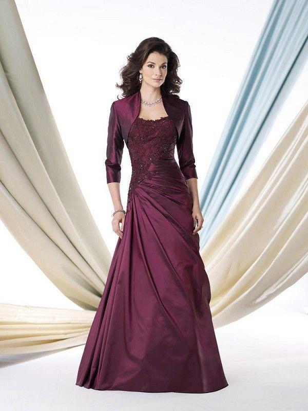 A-line/Princesse Stroppeløs Floor-length Taft Mother of the Bride Dress