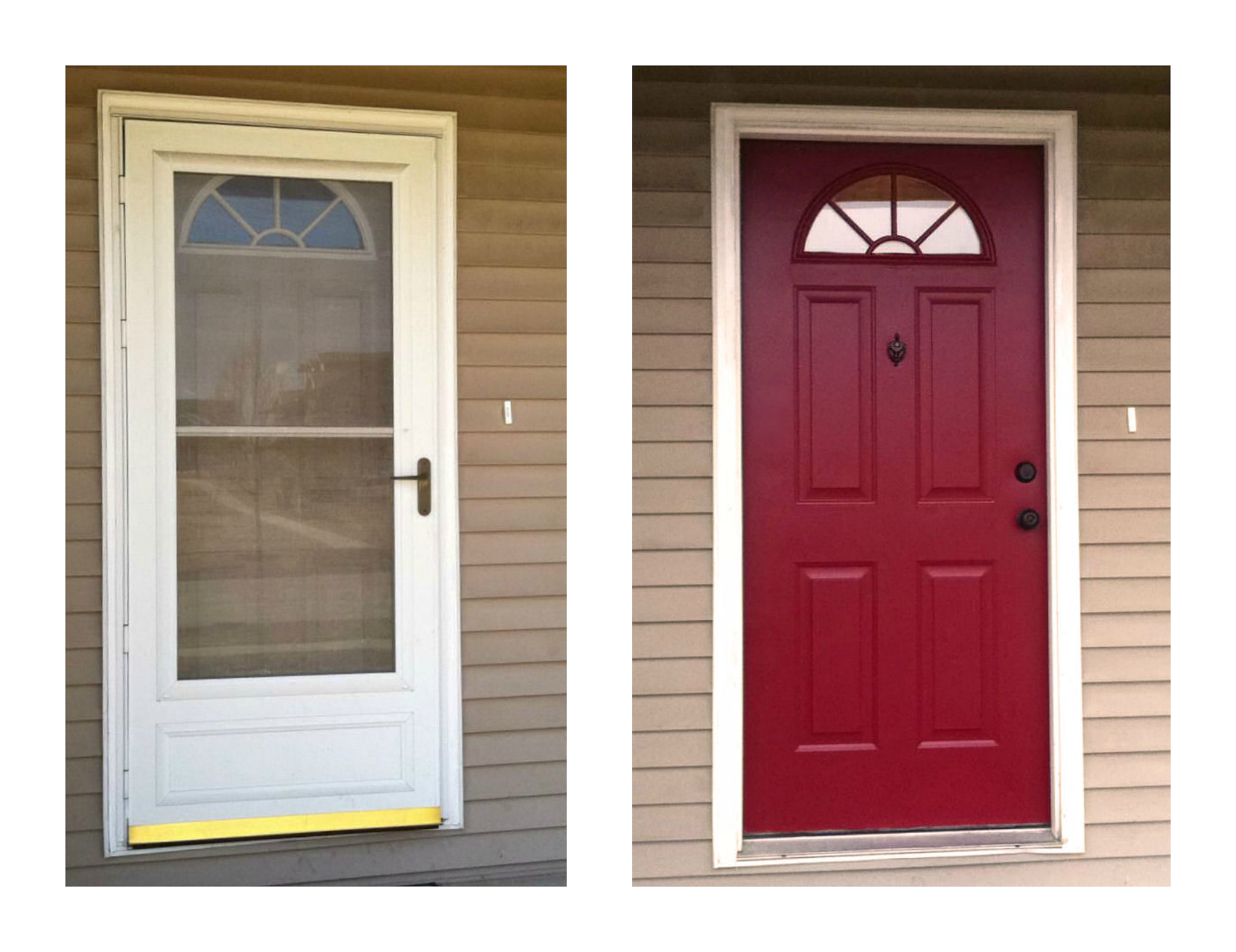 Before and after diy front door i was conflicted about for Front door with storm door