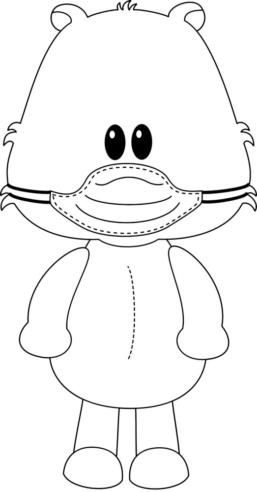 Teddy Bear Standing with a Face Mask Coloring Page in 2020