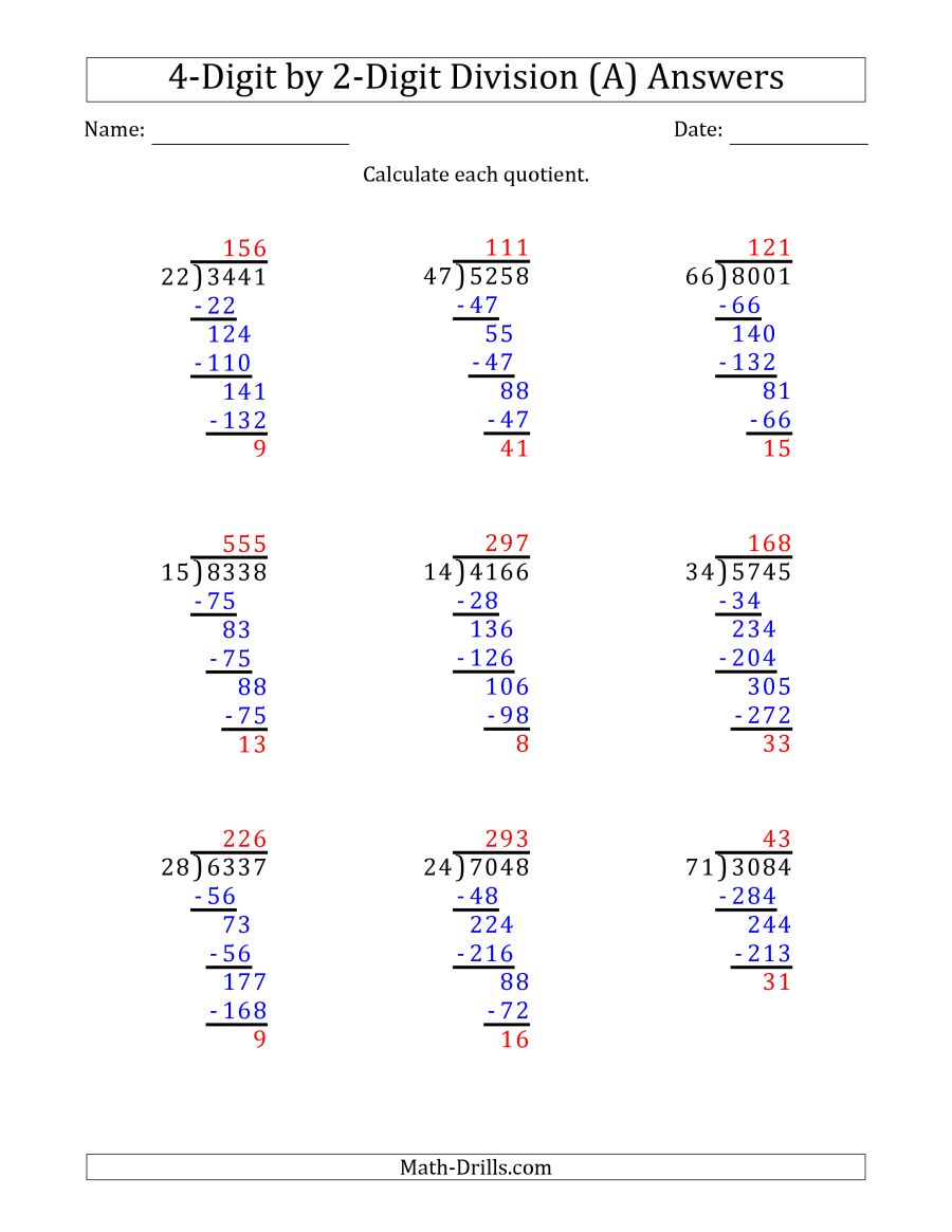 The 4 Digit By 2 Digit Long Division With Remainders And Steps Shown On Answer Key A Math Worksheet Page 2 Math Worksheets Math Drills Division Worksheets