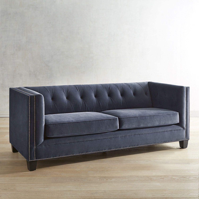 Quinn Navy Velvet Tufted Tuxedo Sofa