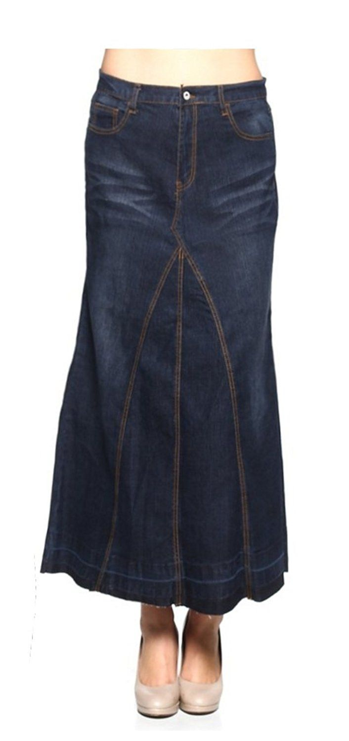 Tabeez womenus long aline denim maxi skirt with whiskering and