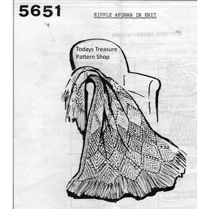 Ripple Afghan Knitting Pattern Design 5651 | Pinterest