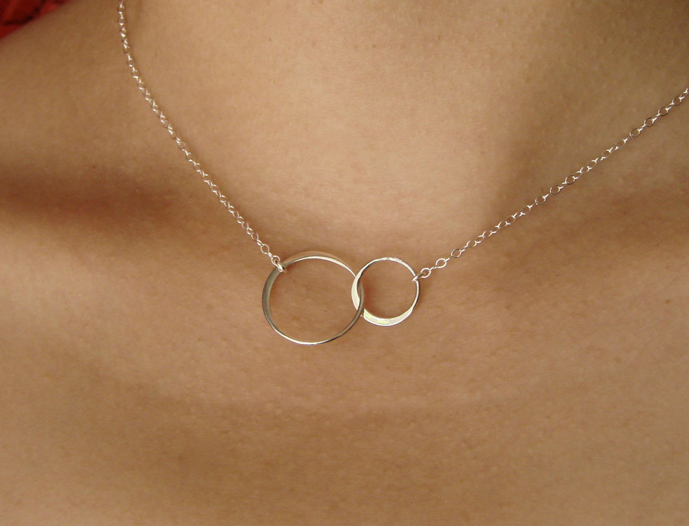 Sister Necklace Two Circles Infinity Necklace Friendship Gift Best Friend Necklace Double Circles Silver Necklace Rose Gold Circle Necklace Circle Necklace Silver Friend Necklaces Gold Circle Necklace