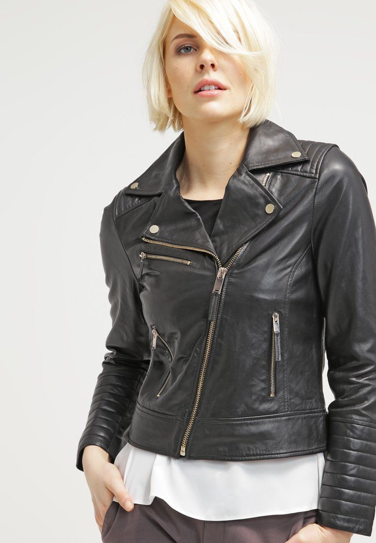 Black Slim Fit Women Motorcycle Leather Jacket Moto Size