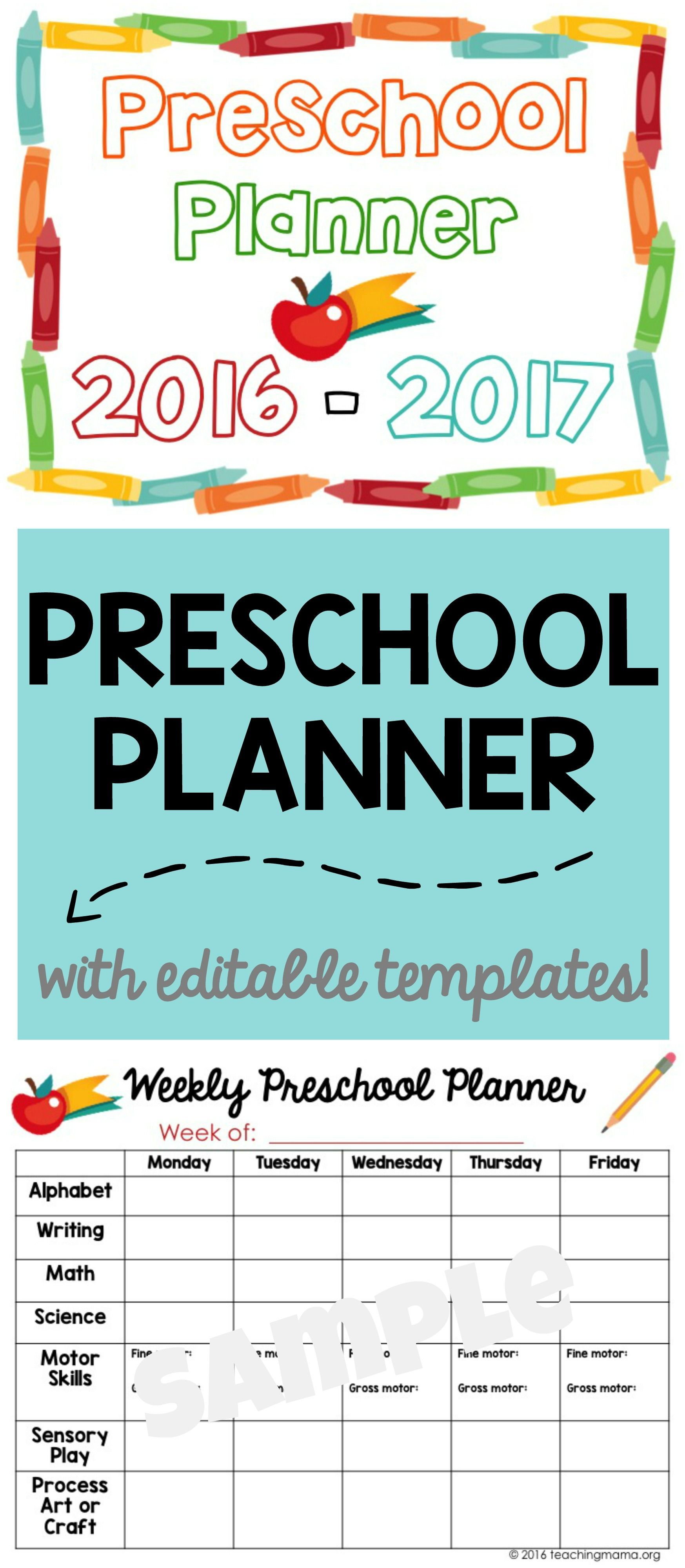 Printable Preschool Planner  Great For Organizing And Planning