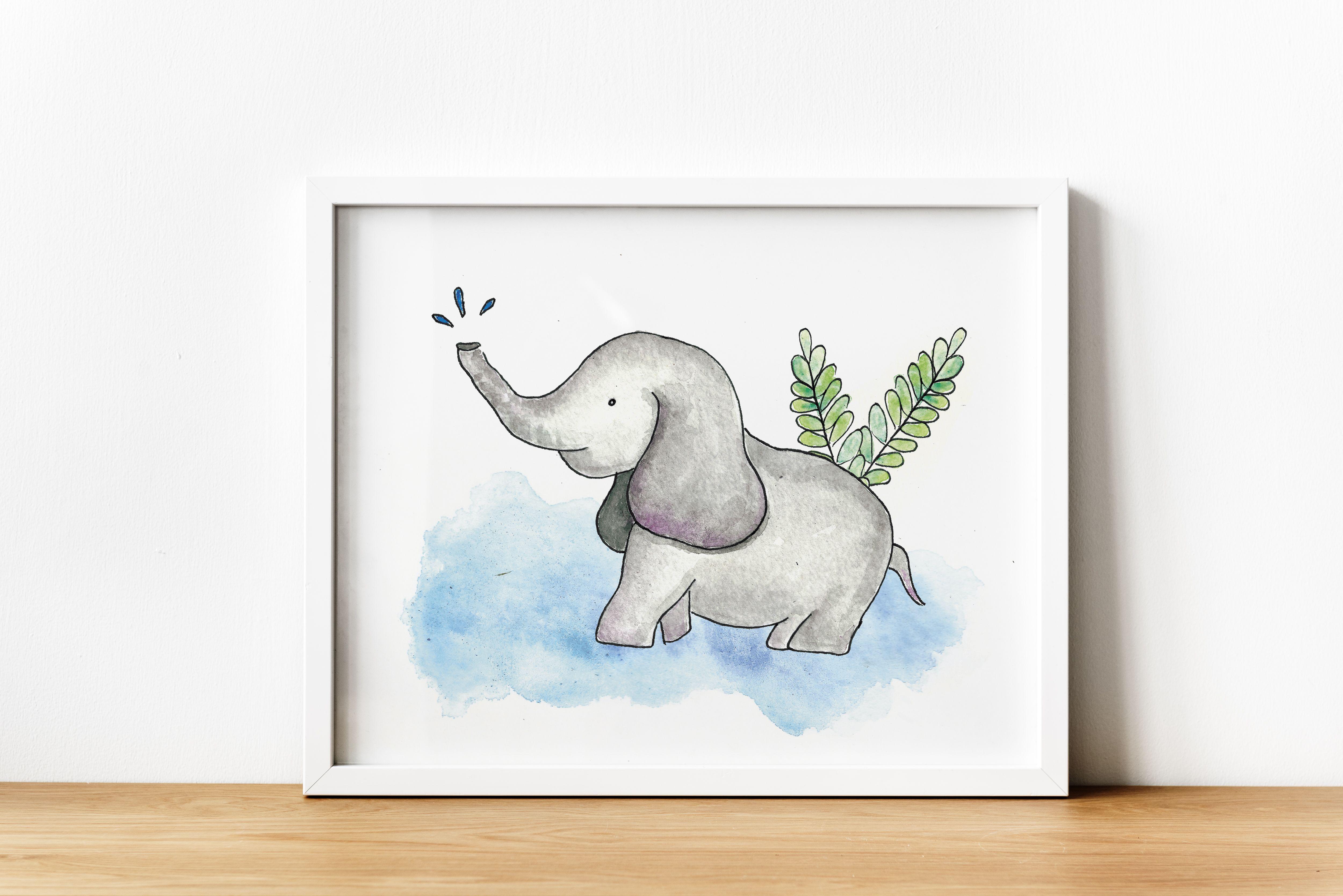 Elephant Printable Watercolor Nursery Printable Art Kids Baby Elephant Art Download Digital Elephant Printable Elephant Baby Elephants Art Kids Printable Art Elephant Art