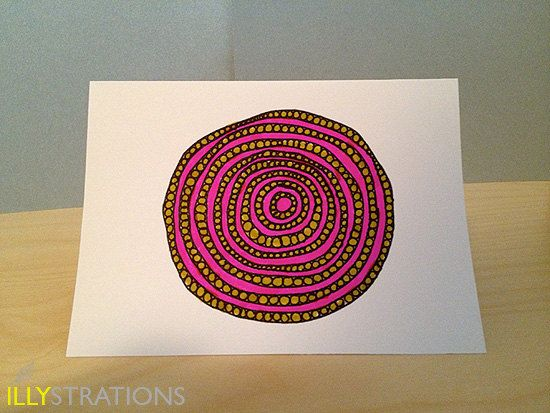 Doodled Circle Notecard by illystrations on Etsy, $4.50