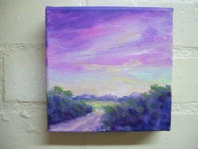 Mini canvas purple landscape Mini canvas paintings