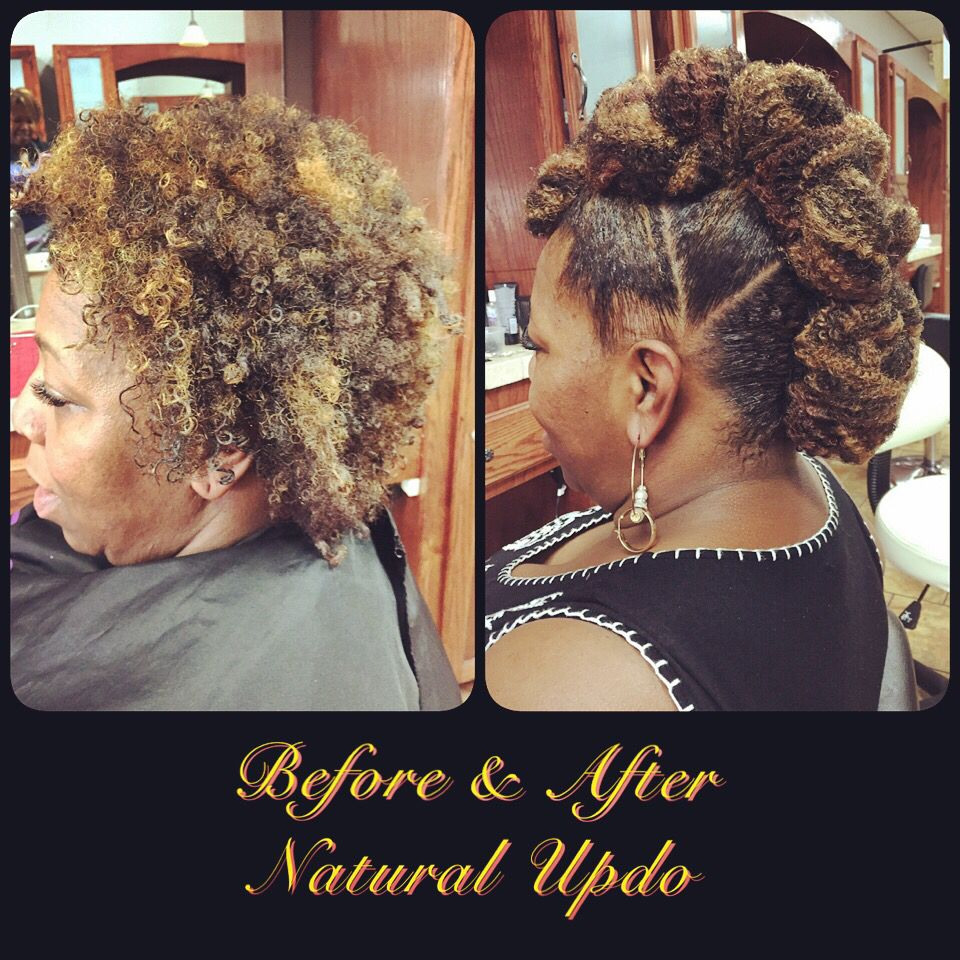 Before and after natural hair updo mohawk for natural hair