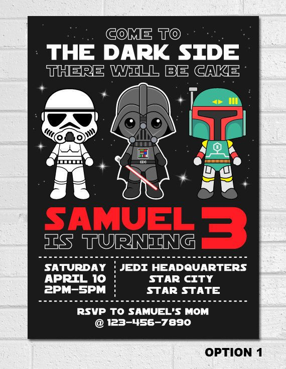 Star Wars Invitation Star Wars Birthday Invitation Star Wars Party