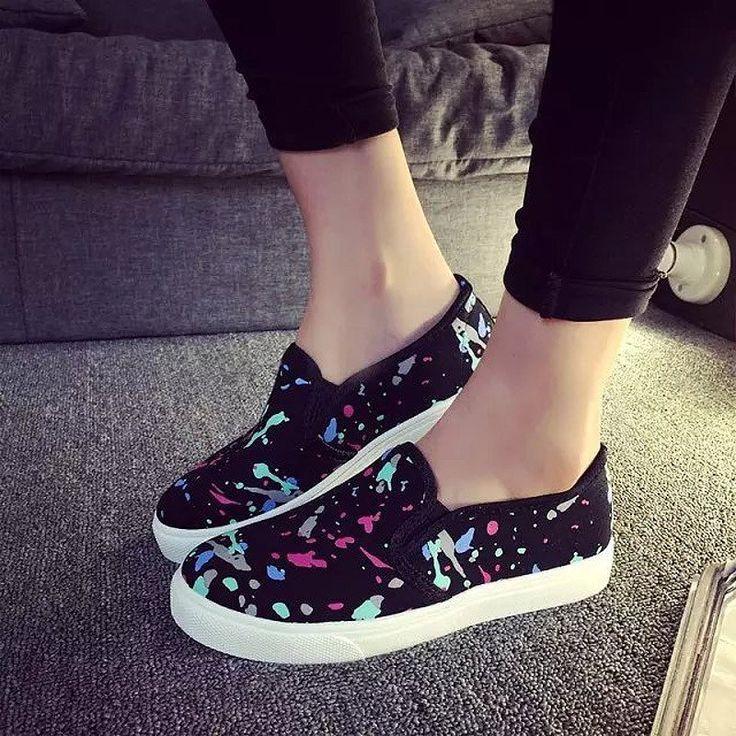 Tendance Chaussures 2017/ 2018 : 2016 Women Flats Platform Canvas Shoes  Woman Comfortable Loafers Graffiti zapato... - Vogue Tunisie | Maroc |  Algérie ...