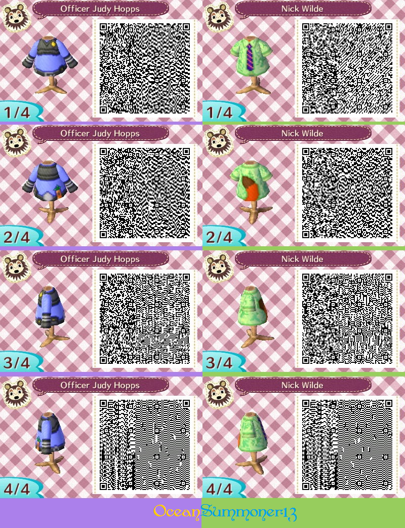 Judy Hopps And Nick Wilde Acnl By Oceansummoner13 Animal Crossing Qr Codes Clothes Animal Crossing Qr Qr Codes Animal Crossing