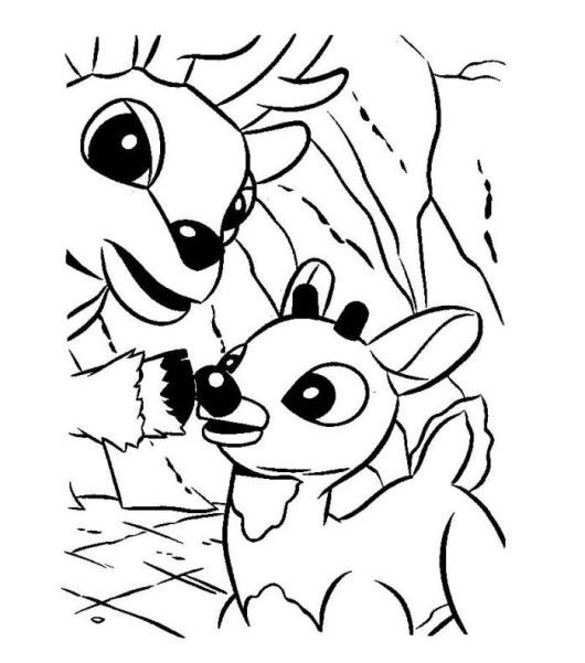 Rudolph And His Dad Donner Reindeer Coloring Page | Coloring pages ...