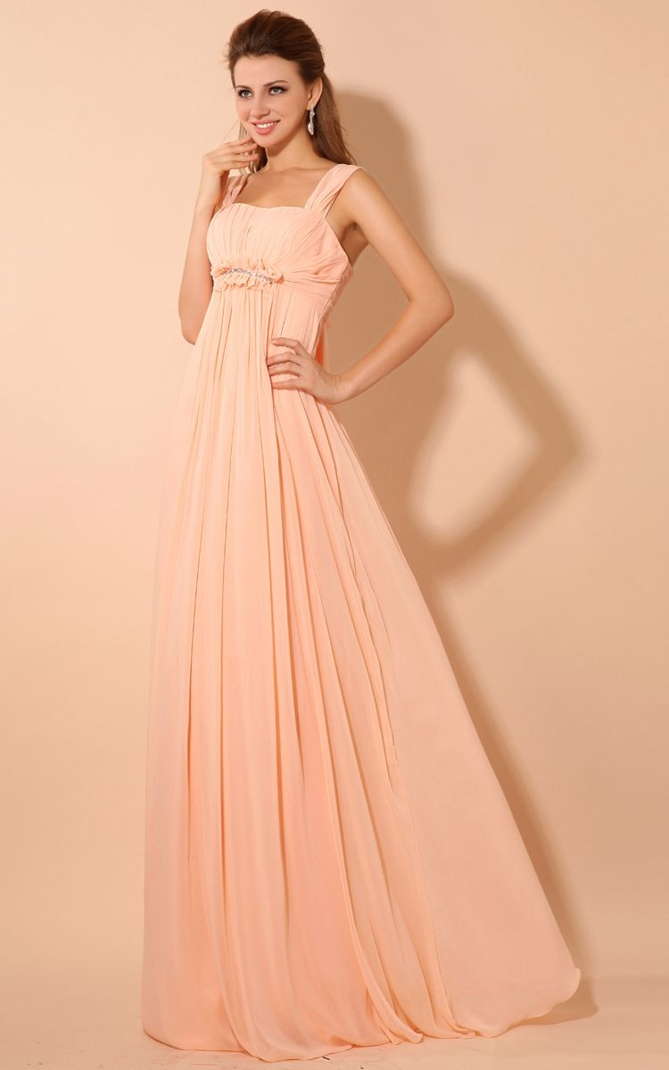 Maxi soft flowing fabric empire dress with draping and straps tie