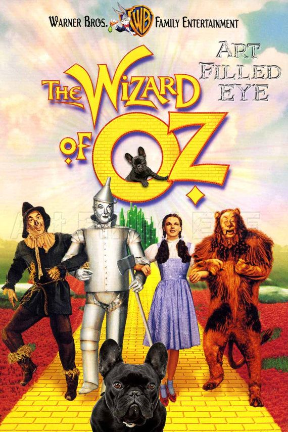 Wizard of Oz Movie Poster- Brindle French Bulldog Print Dog Art Artwork Wall Gift Picture