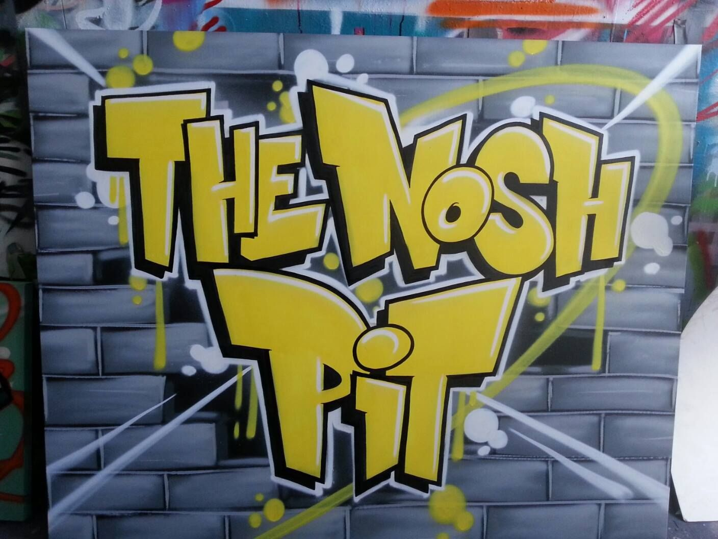 Client: Nosh Pit Cafe - #graffiti #design #canvas #namecanvas ...