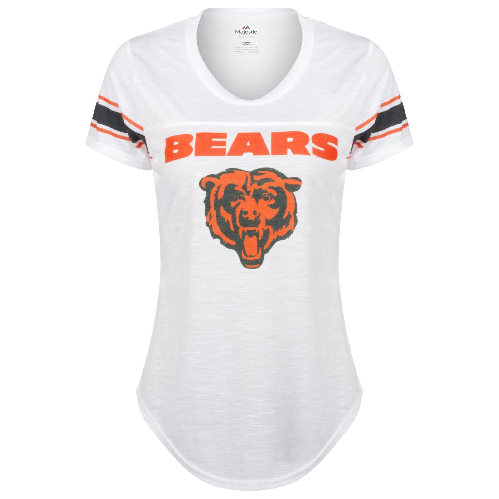 99f69c6a2 Chicago Bears Women's White Striped Sleeve Primary Logos Burnout Scoop Neck  Tee by Majestic #Chicago #Bears #ChicagoBears