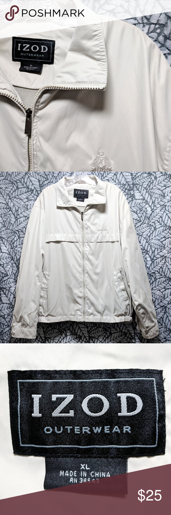 Izod Crest Ivory Soft Full Zip Extra Windbreaker Excellent Condition Brand Izod Crest On Front Color Ivory E Clothes Design Windbreaker Fashion [ 1740 x 580 Pixel ]