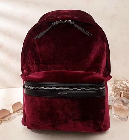 47898386bc YSL BAGS 2018 Saint Laurent City Backpack in Dark Red Velvet and Leather