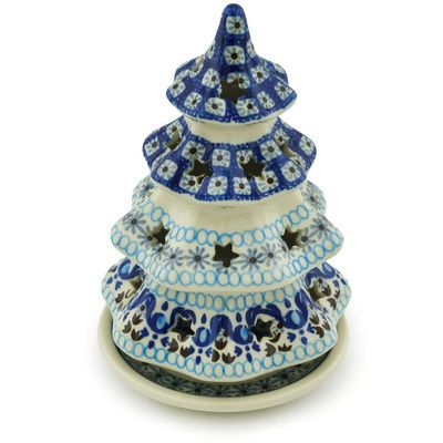 Polish Pottery Christmas Tree Candle Holder 7 Blue Ice Polish Pottery Christmas Tree Candle Holder Polish Pottery Boleslawiec