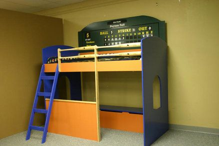 Baseball Loft Bed With Dugout With Images Loft Bed Diy Loft Bed Boys Room Diy