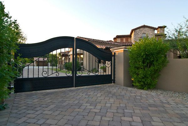 Wrought Iron Driveway Gate To Tuscan Style Custom Home