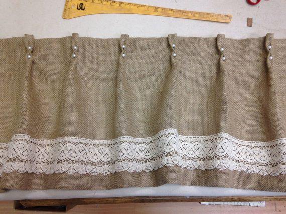 Cenefa perla cosida a mano encaje arpillera cenefa por for Cortinas de tela de saco