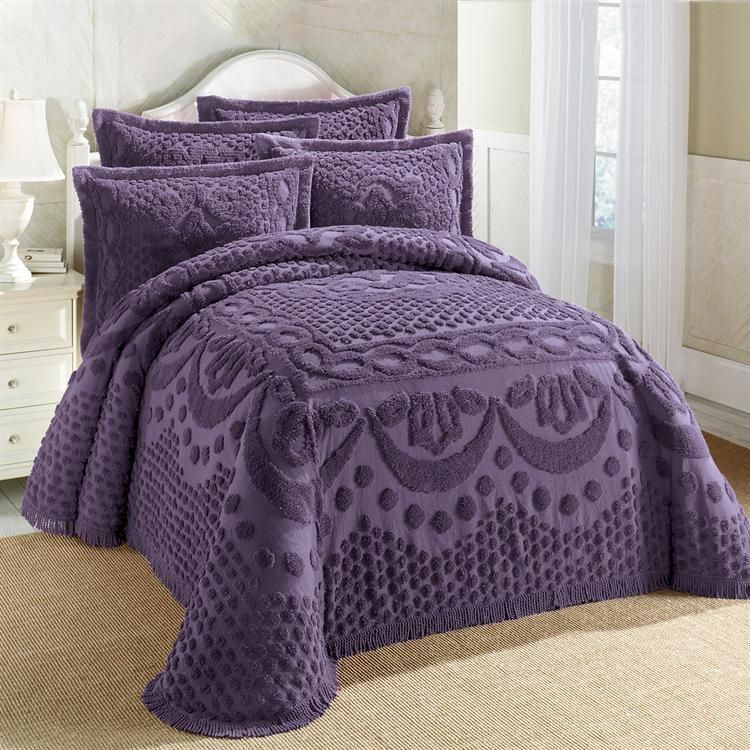 100 Cotton Textured Chenille Lattice Medallion Bedspread