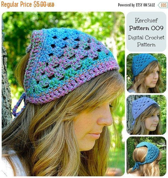 50% OFF SALE Crochet Pattern, Kerchief Pattern 009, Bandana Pattern ...
