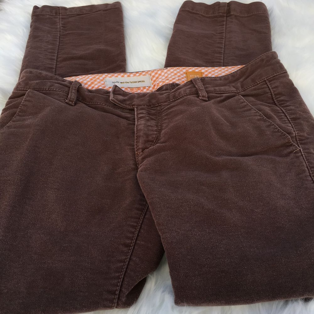Pilcro and the Letterpress Anthropologie Sz 27 Brown Pants Straight Leg Cotton   | eBay