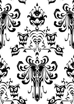 Haunted Mansion Wall Paper in Black and White (With images