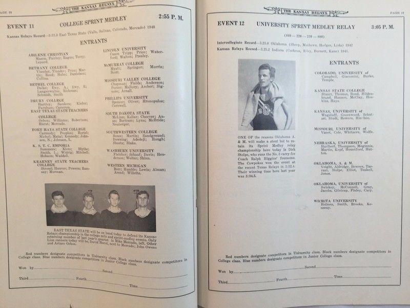 1949 Kansas Relays program.