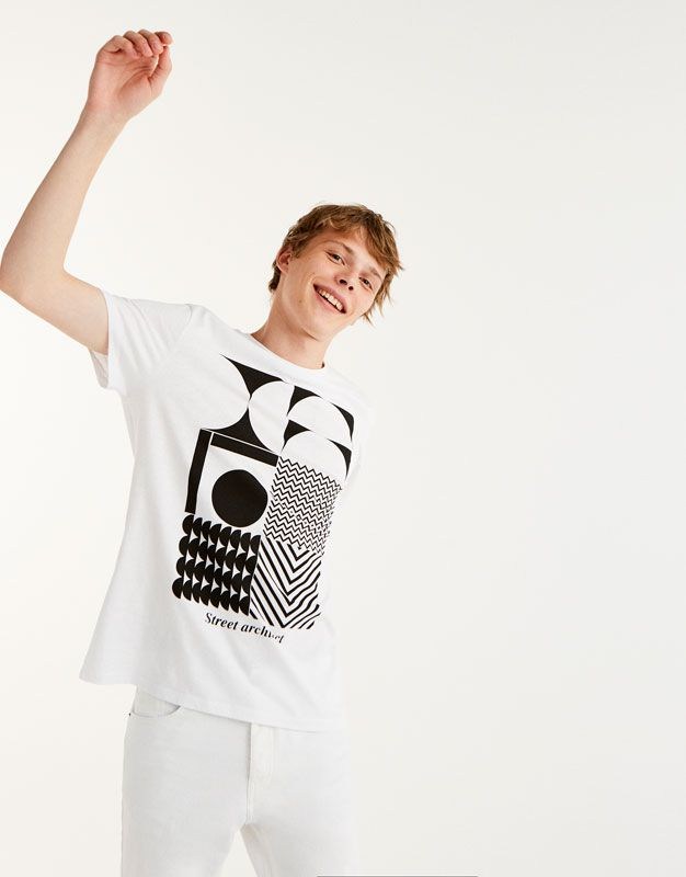 Geometric print T-shirt - T-shirts - Clothing - Man - PULL&BEAR Albania