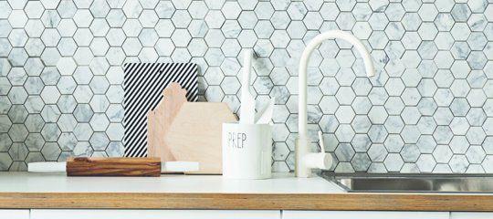 A Polygon Marble Tile Backsplash