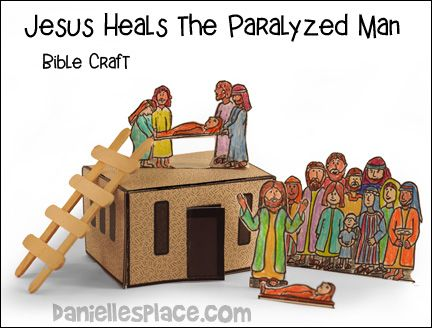 Jesus heals the paralyzed man bible craft from www for Jesus heals paralyzed man craft