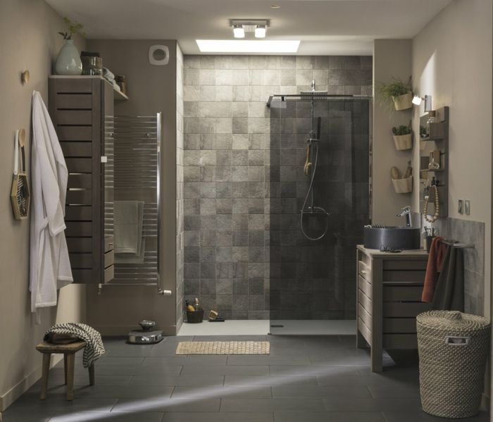 salle de bains douche à lu0027italienne carreaux aspect nature Salle - salle de bain design douche italienne