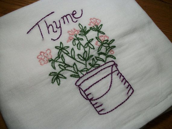 Dish (Tea) Towel with Herb Garden Design Hand Embroidery