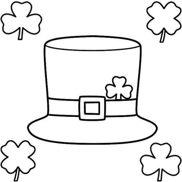 Leprechaun Hat With Shamrocks Coloring Page St Patrick S Day Leprechaun Hats Leprechaun Coloring Pages