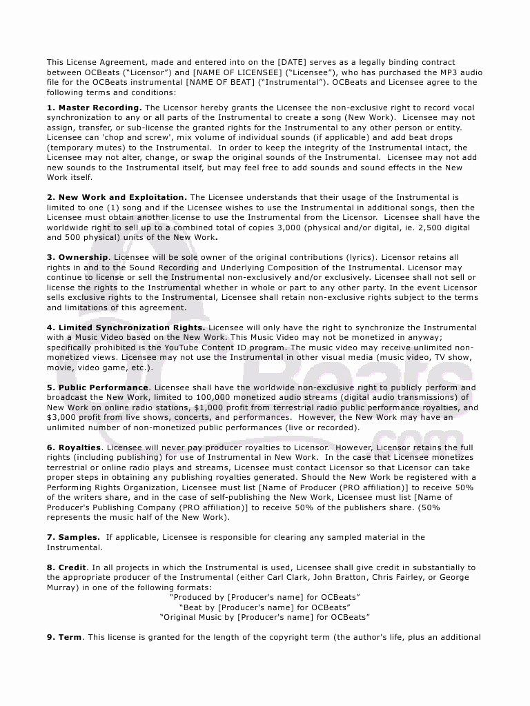 Beat Lease Contract Template Beautiful Beat Lease Agreement 2016 By Tshim Pdf Archive Contract Template Templates Contract
